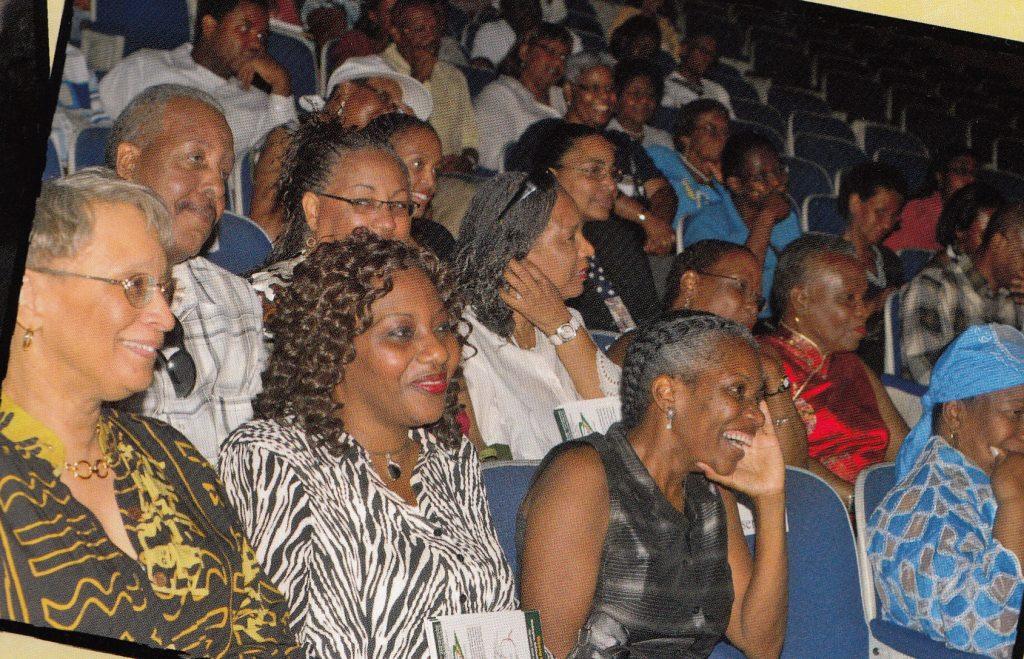 Crowd laughing